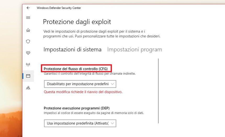 Fix interfaccia utente lenta Windows 10 Fall Creators Update Windows Defender Security Center 1