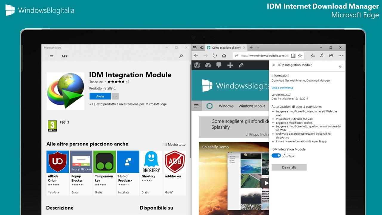 IDM Internet Download Manager estensione Microsoft Edge