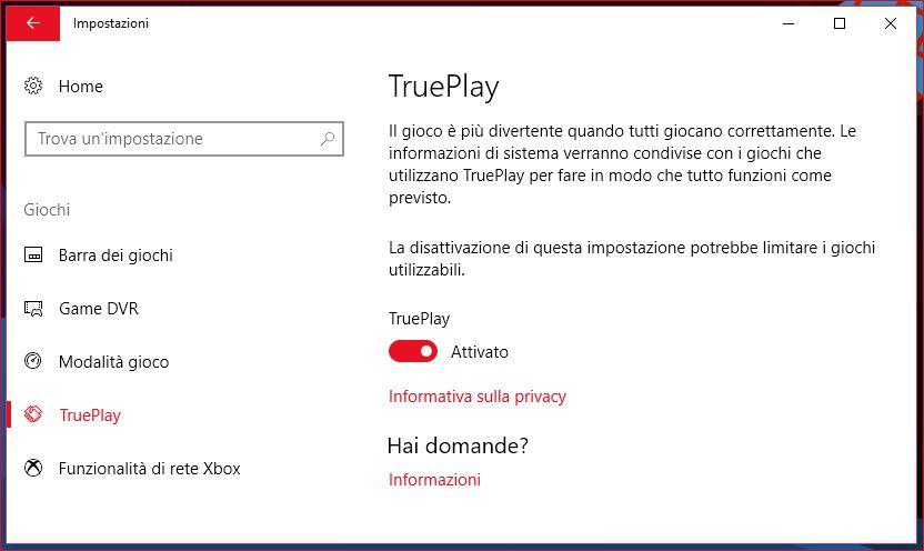 Microsoft TruePlay Impostazioni Windows 10 FCU