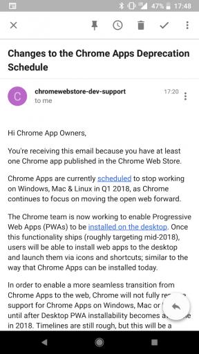 Mail chiusura sviluppo Chrome Apps