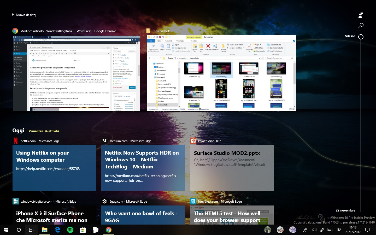 Sequenza temporale Timeline Windows 10