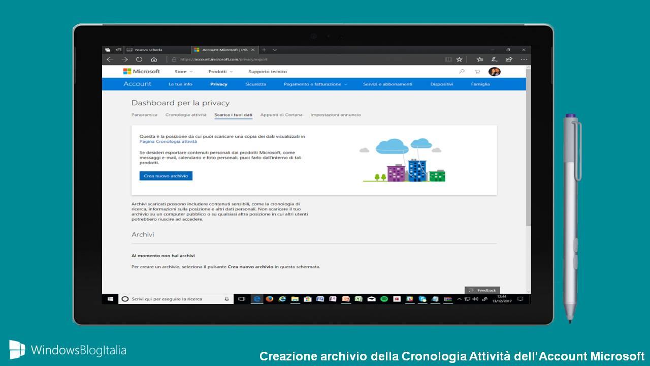 Microsoft Account Cronologia Attività