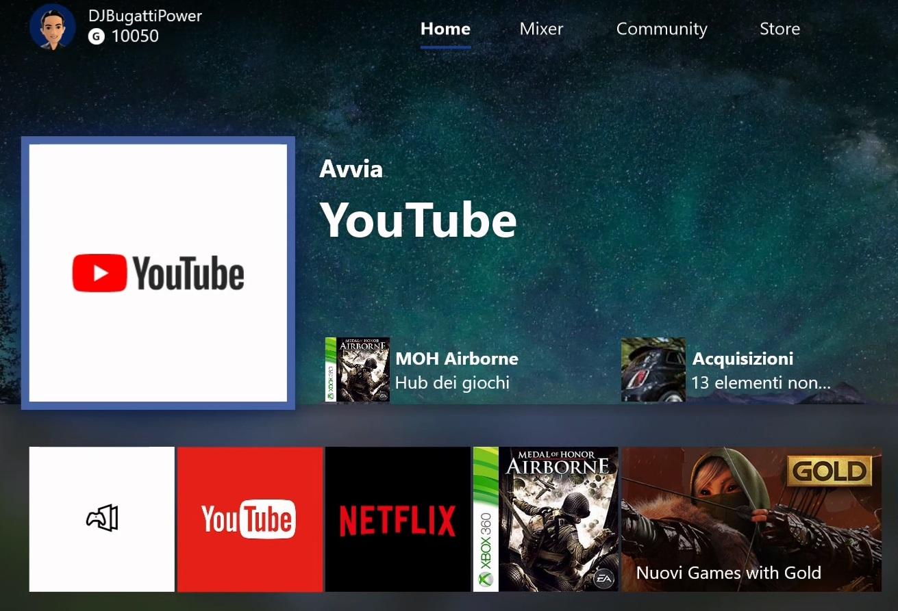 YouTube nuova app Xbox One home