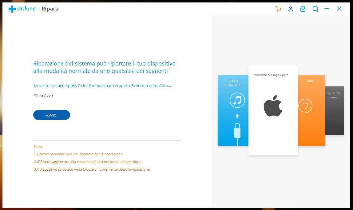 dr.fone iPhone ripara homepage Windows