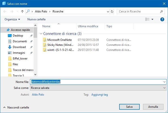 salvataggio ricerca file modificati ieri