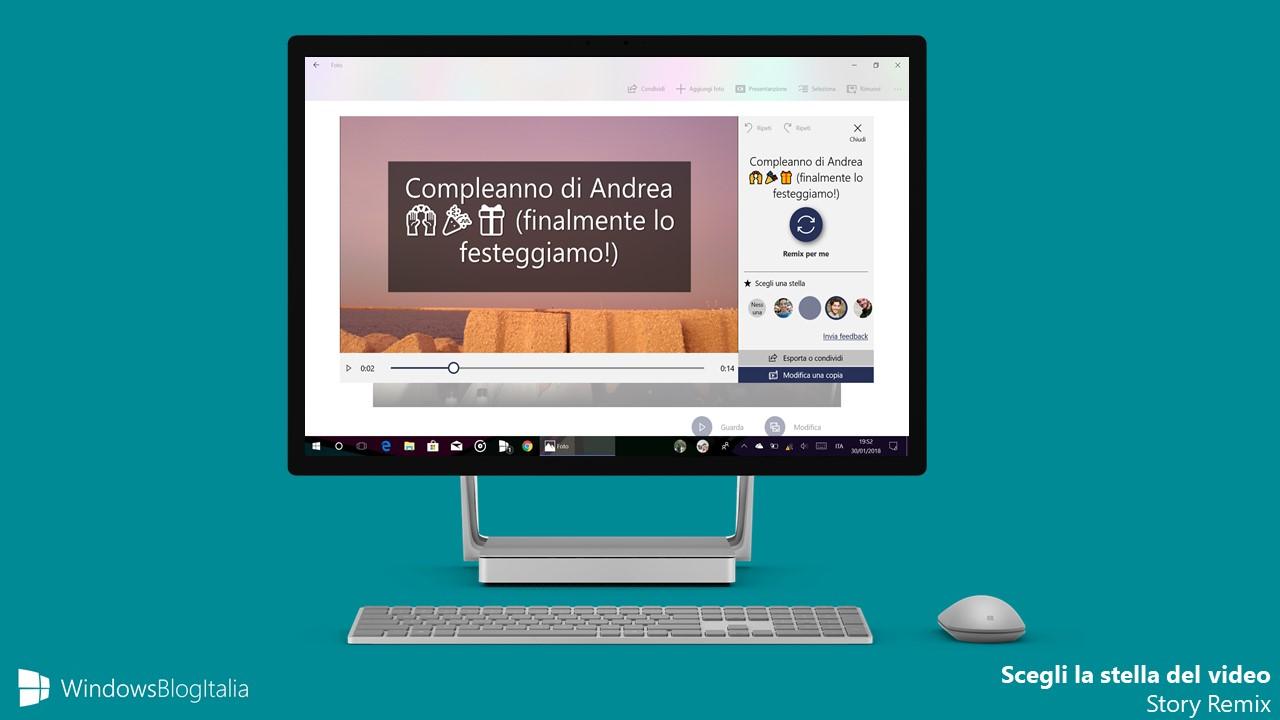 Scegli stella protagonista Windows 10 Foto Story Remix