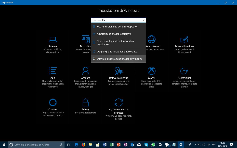 Aggiungi funzionalità Windows 10