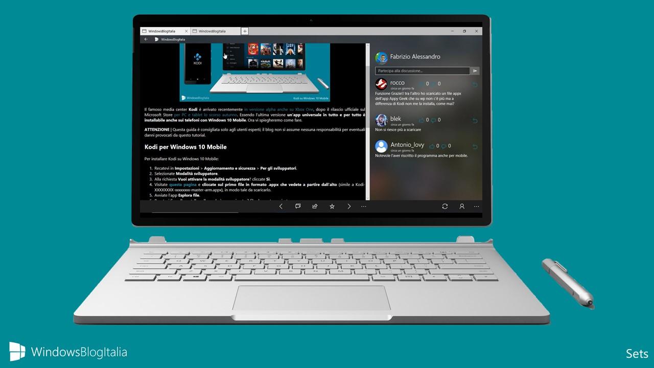 La nuova funzione Sets di Windows 10 non arriverà con Redstone 4