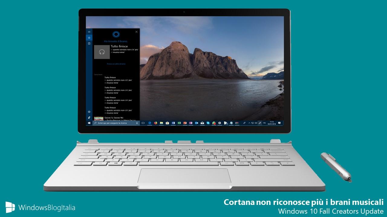 Addio al riconoscimento della musica in Cortana