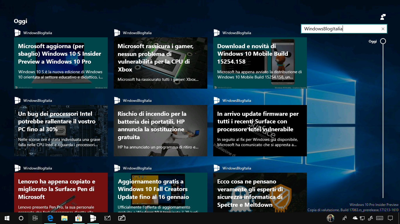 WindowsBlogItalia Timeline