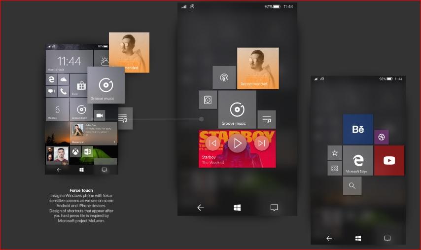 Windows 10 Mobile Fluent Design Concept Force Touch