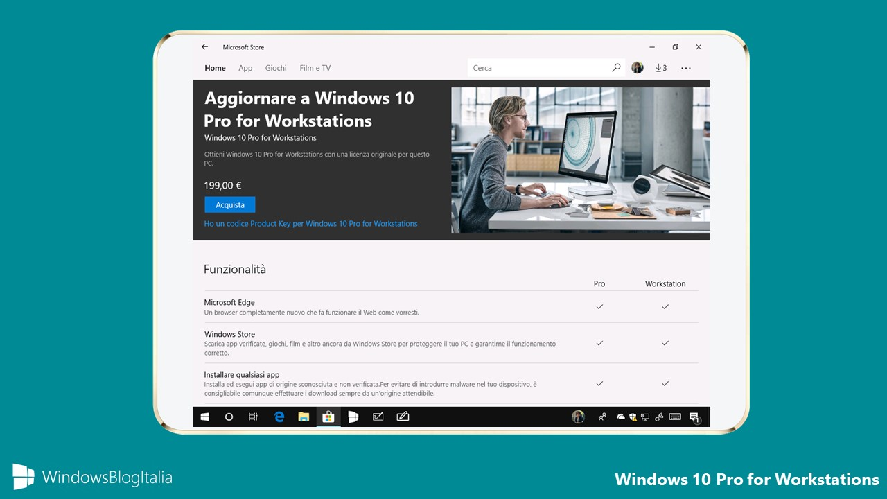 Ufficiale l 39 aggiornamento a windows 10 pro for for Window 10 pro