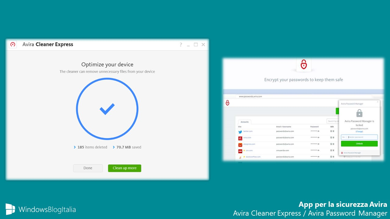 Avira app Windows 10 sicurezza Avira Password Manager Avira Cleaner Express