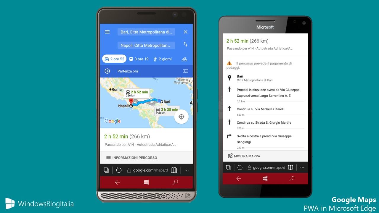 Google Maps PWA Windows 10 Mobile
