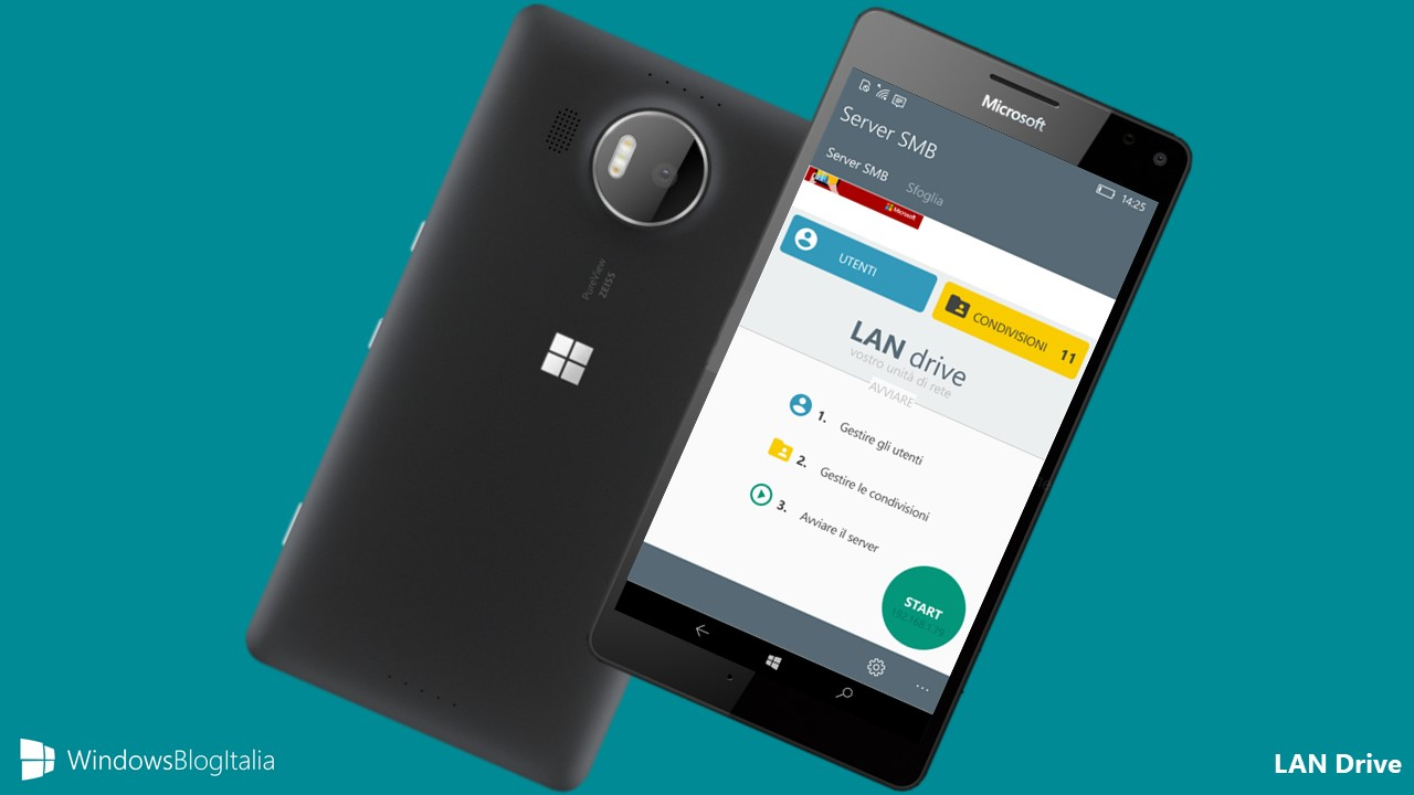 LAN Drive app SAMBA server Windows 10 Mobile