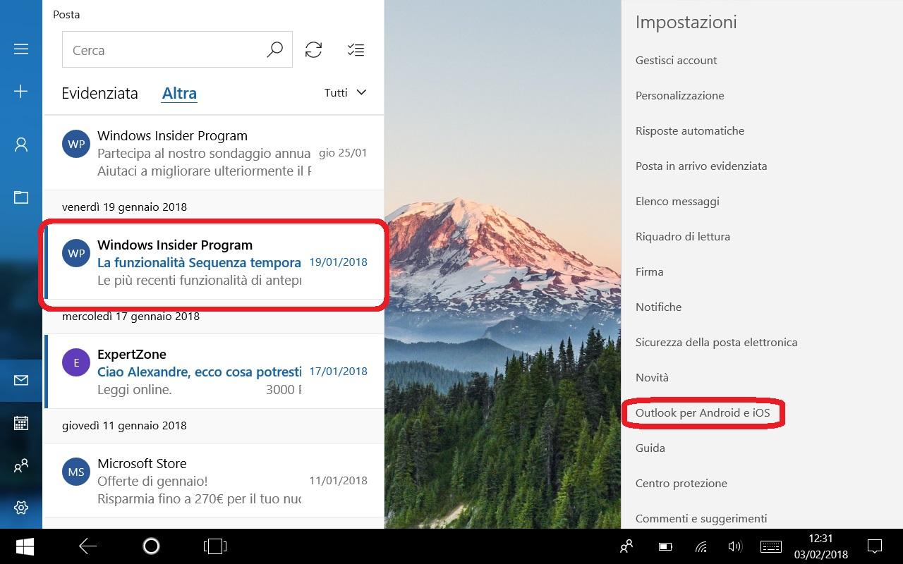 Posta e Calendario Windows 10 Android iOS app novita font