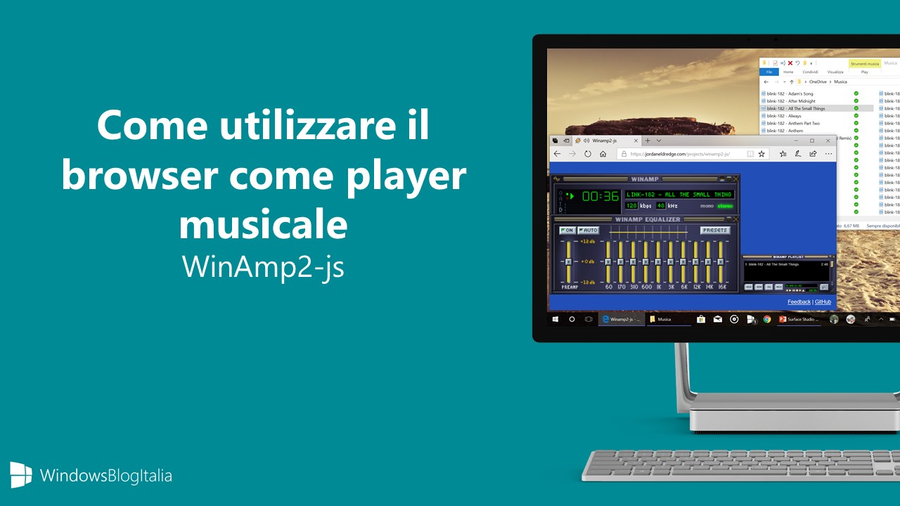 WinAmp2-js player musicale browser Edge Chrome Firefox Safari hero