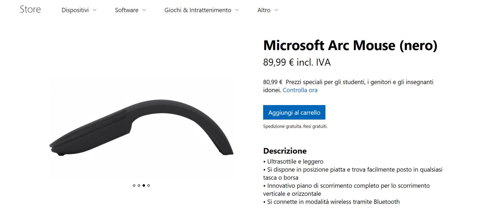 Microsoft Arc Mouse Nero