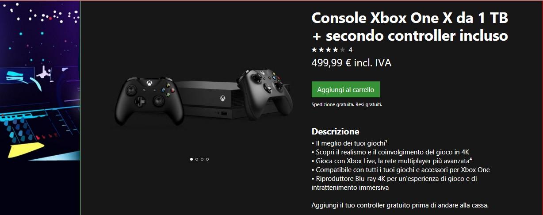 Xbox One X Microsoft Store online offerta