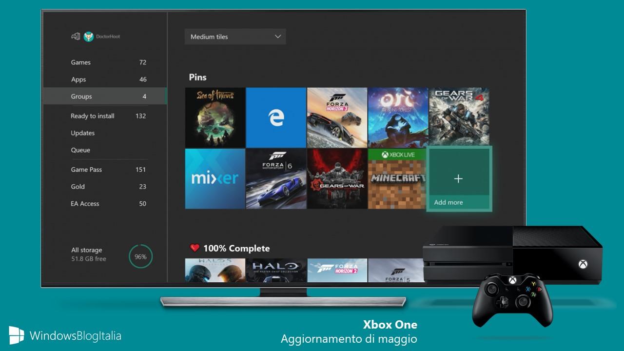 Aggiornamento Xbox One maggio raggruppamento app giochi