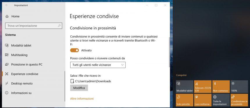 Condivisione in prossimità Windows 10 Impostazioni