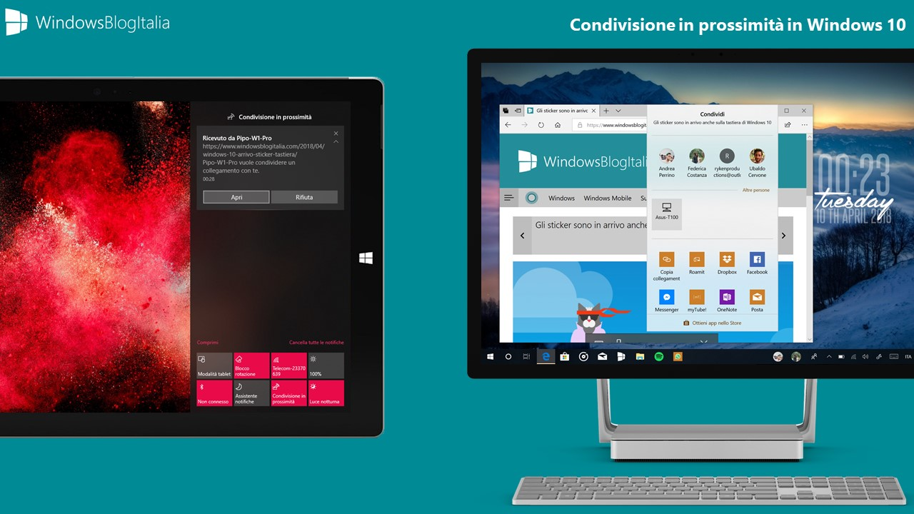 Condivisione in prossimita Windows 10 Spring Creators Update