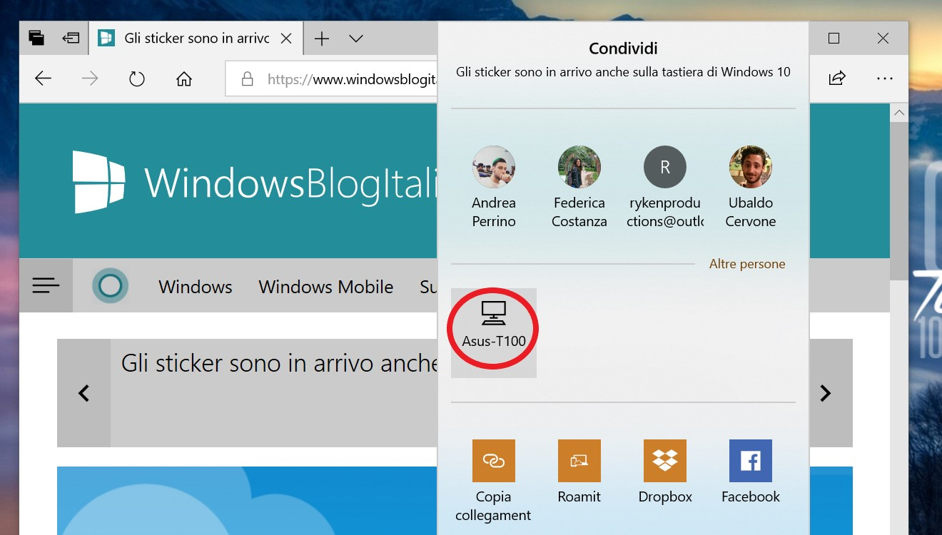Condivisione in prossimità Windows 10 pagina web