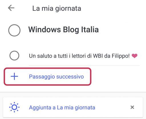 Microsoft To-Do per Android sottoattività