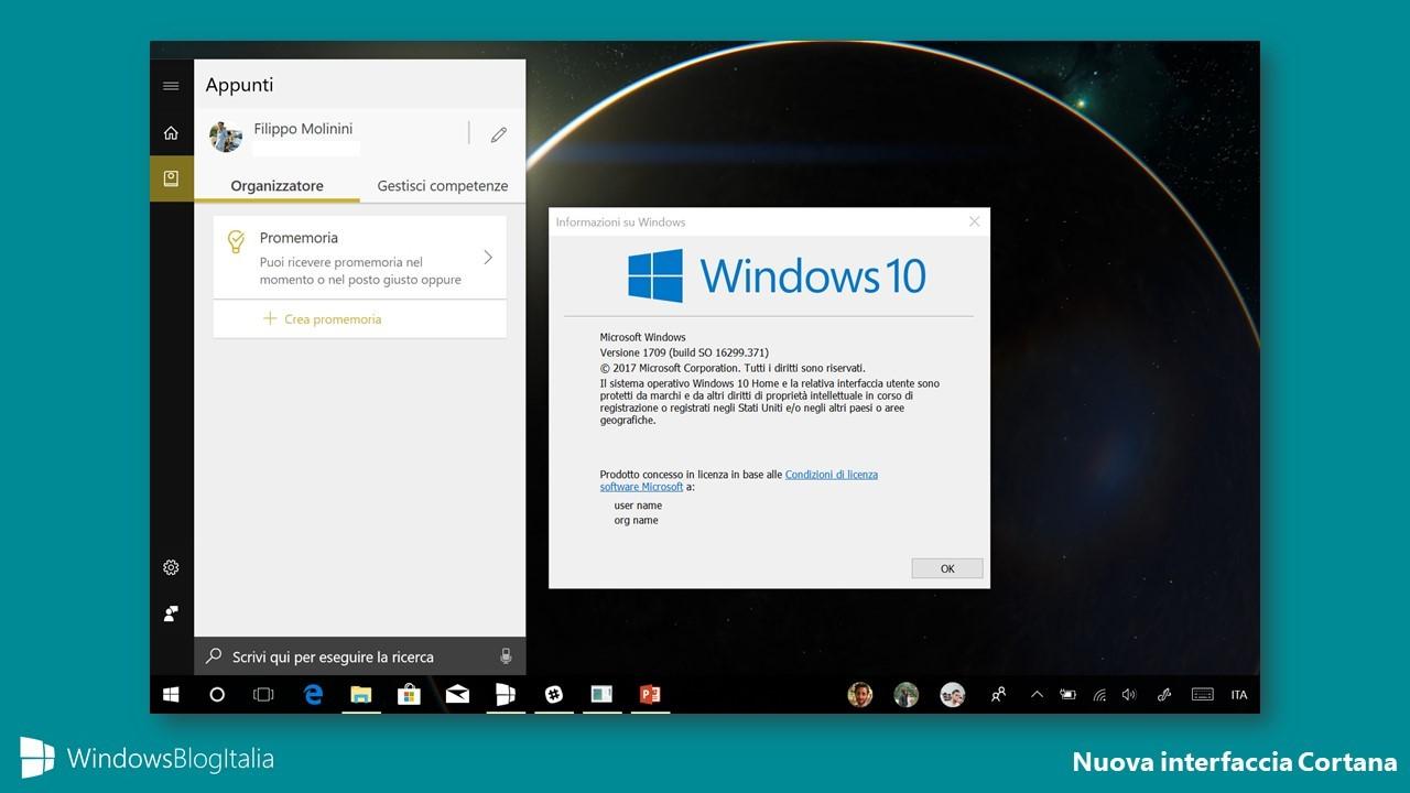 Nuova interfaccia Appunti Cortana Windows 10
