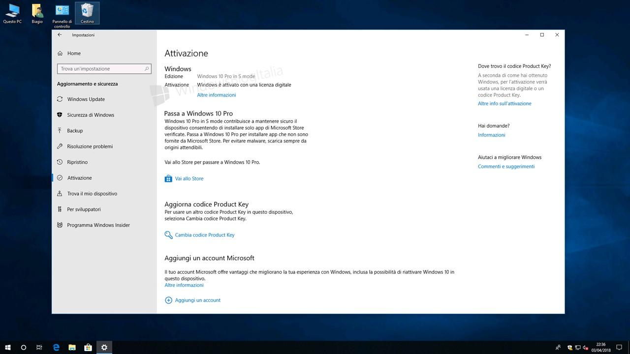 Come passare gratis da S mode alla licenza Pro di Windows 10