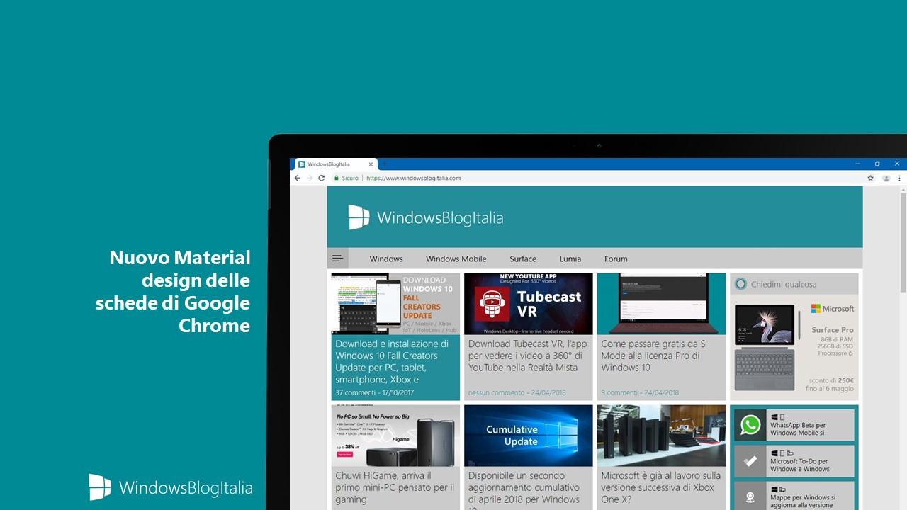 nuovo design delle tabs di Chrome