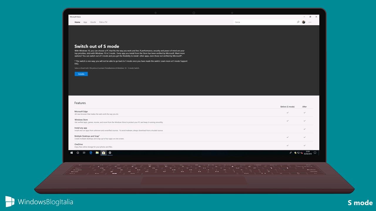 Windows 10 Pro in S mode