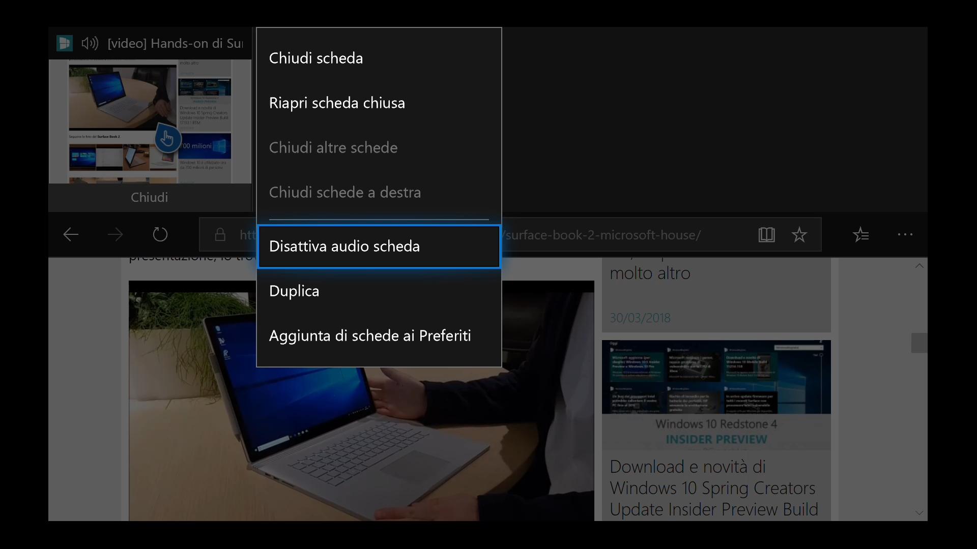Xbox One Windows 10 Spring Creators Update Microsoft Edge disattiva audio scheda