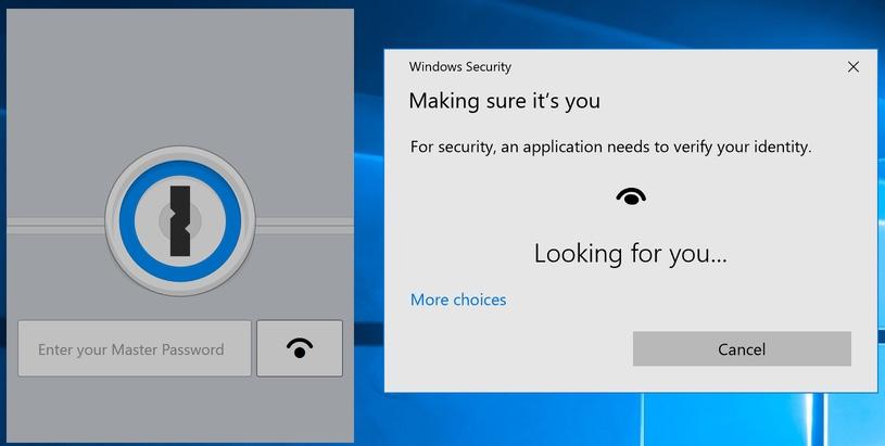 1Password 7 integrazione con Windows Hello