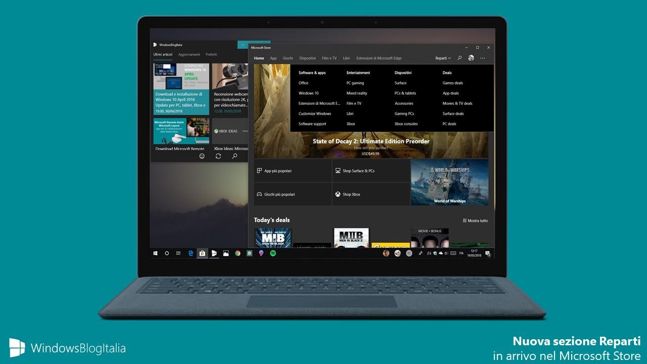 Microsoft Store Windows 10 sezione Reparti