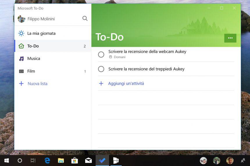 Microsoft To-Do per Windows interfaccia Fluent Design