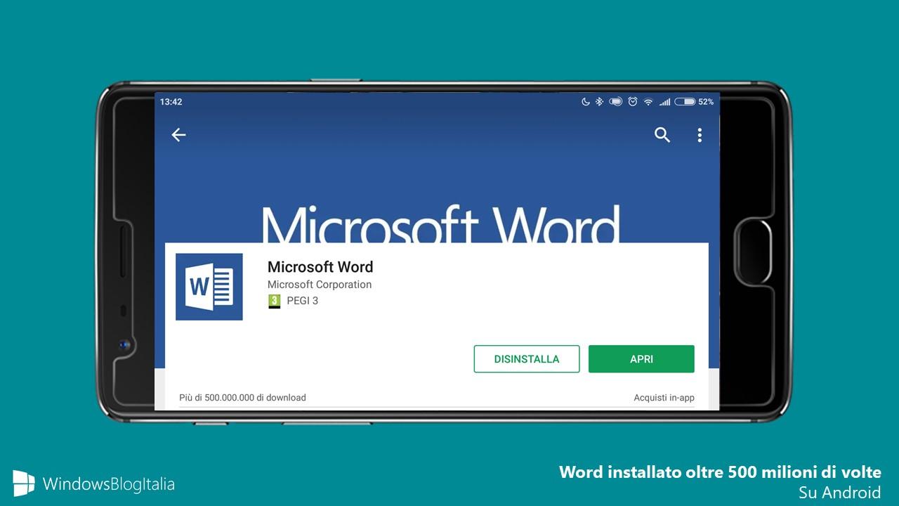Microsoft Word 500 milioni installazioni download Android