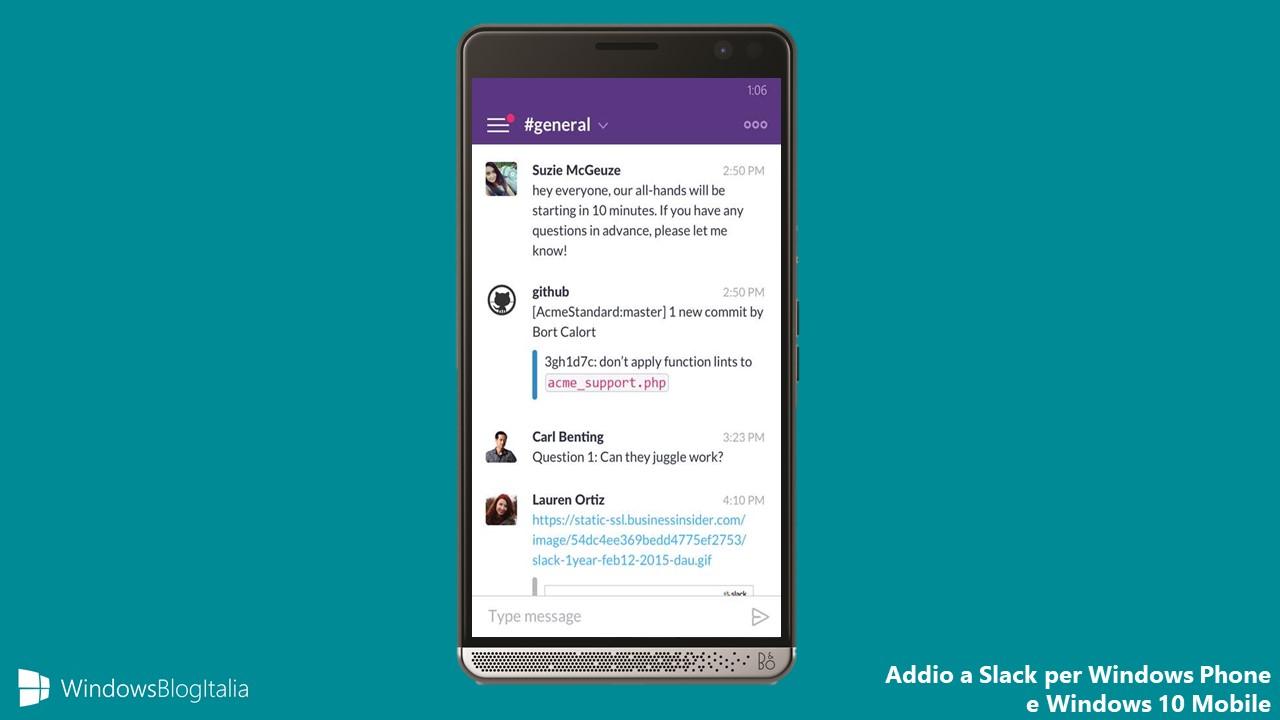 Addio Slack app Windows Phone Windows 10 Mobile