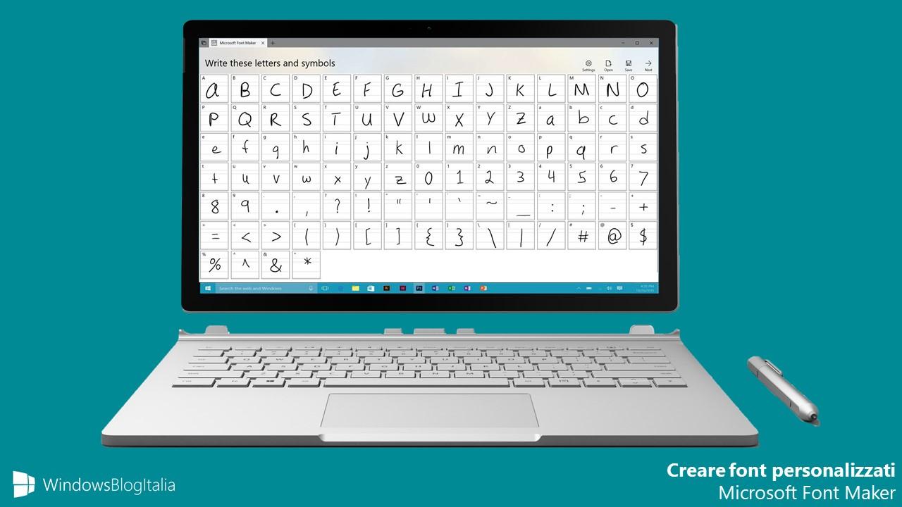 Creare font personalizzato Windows 10 Microsoft Font Maker