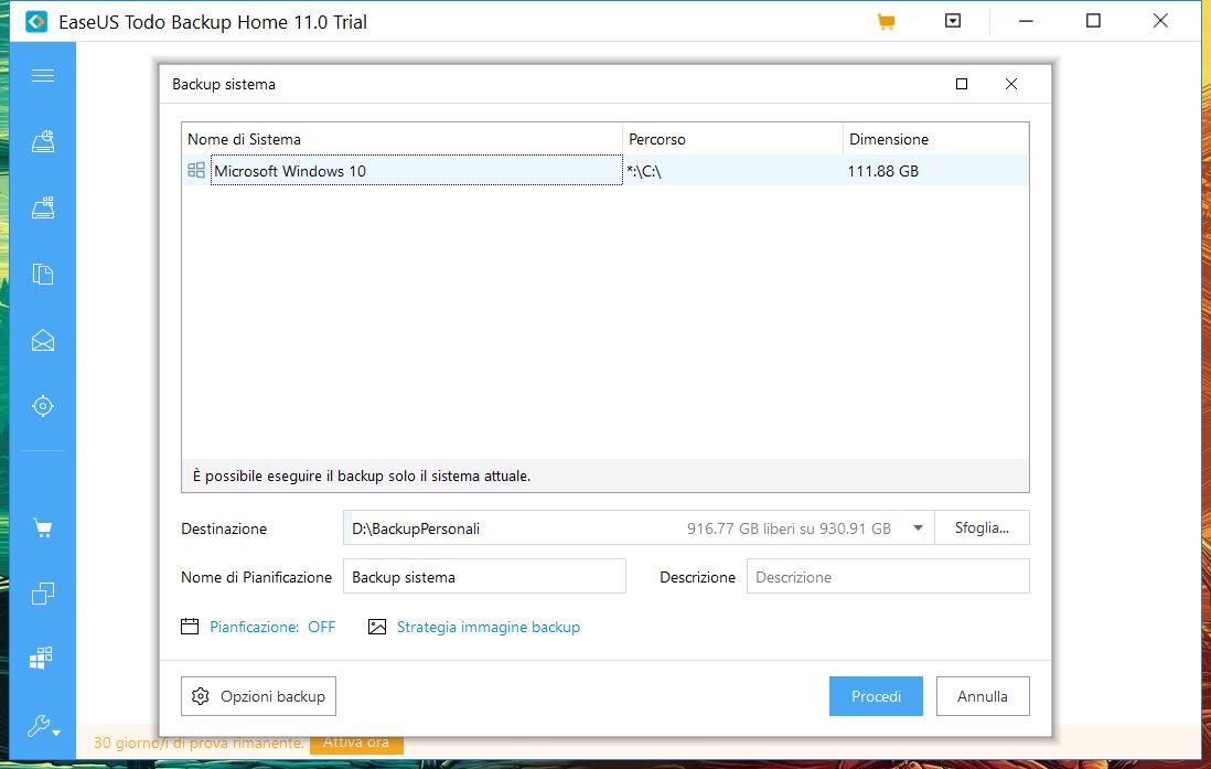 EaseUS Todo Backup Home 11.0 backup sistema