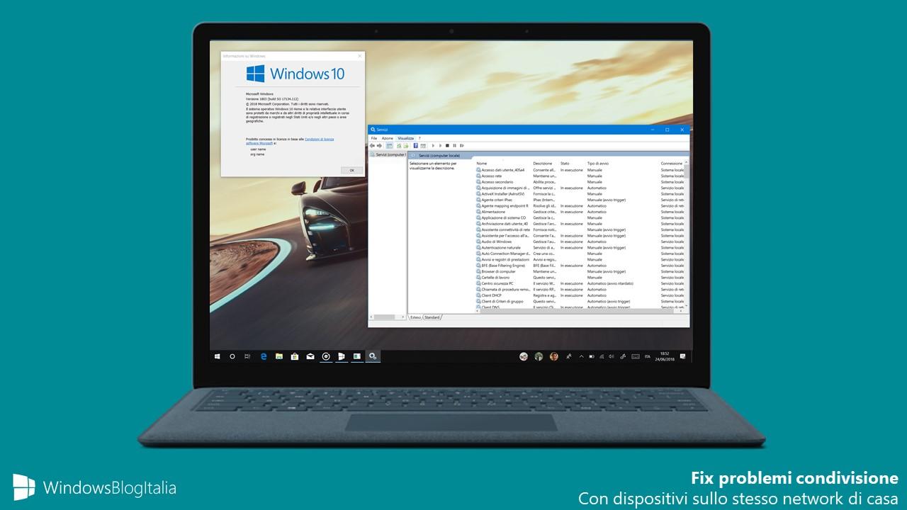 Fix problemi condivisione home network Windows 10 April 2018 Update