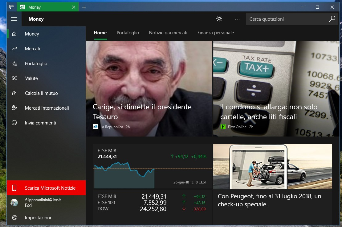 MSN Money app Windows 10 Fluent Design