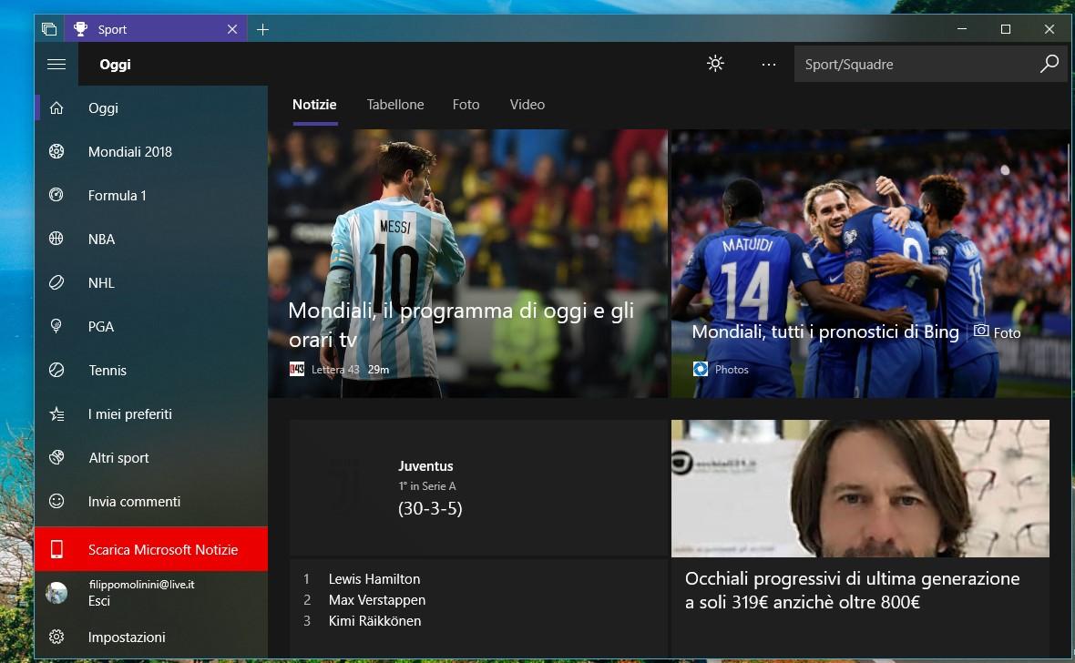 MSN Sport app Windows 10 Fluent Design