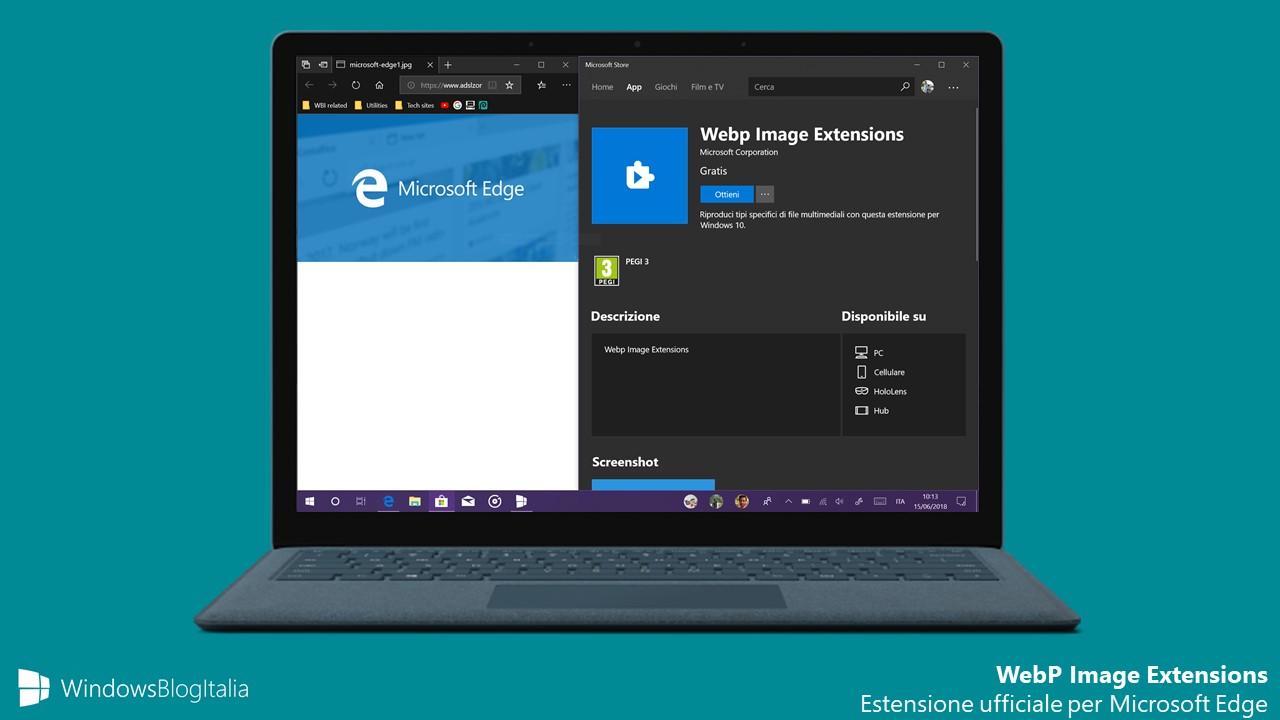 Microsoft Edge estensione immagini WebP