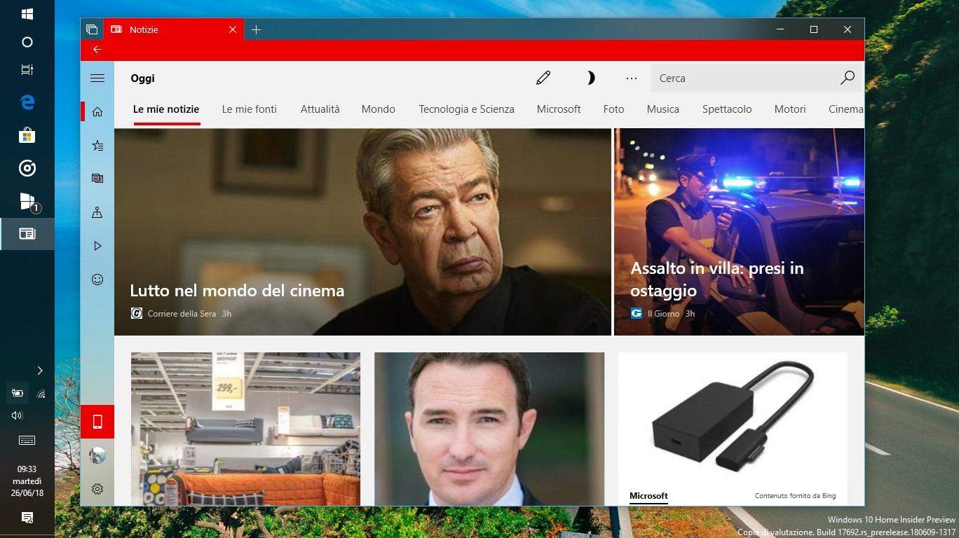 Microsoft Notizie Windows 10 home page tema chiaro
