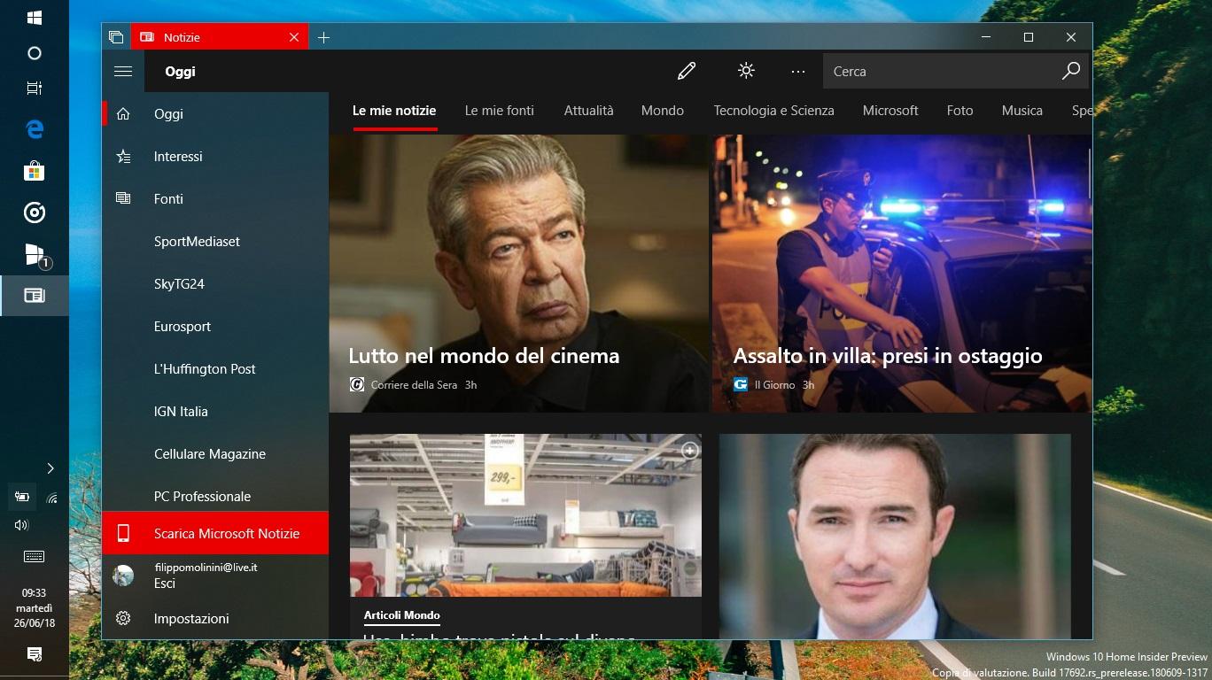 Microsoft Notizie Windows 10 home page tema scuro