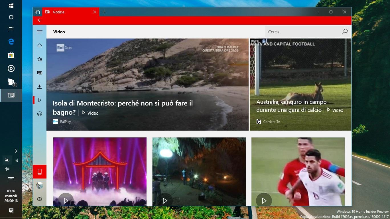 Microsoft Notizie Windows 10 home page video