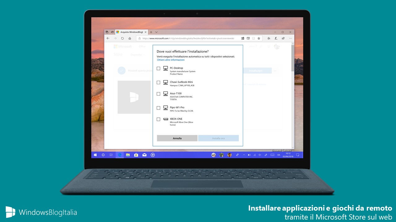 Microsoft Store web installazione app giochi remoto dispositivi Windows 10