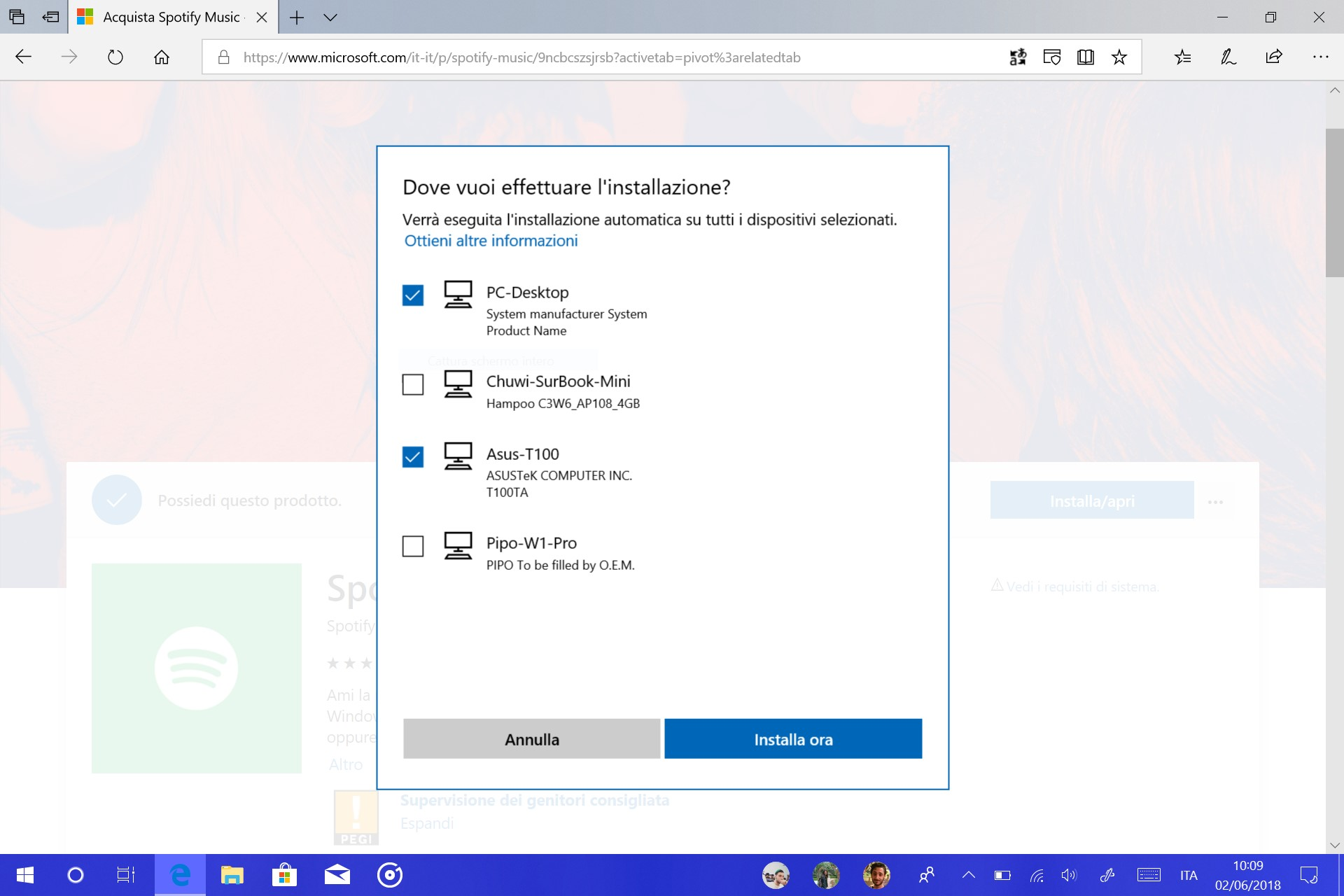 Microsoft Store web installazione app remoto dispositivi Windows 10