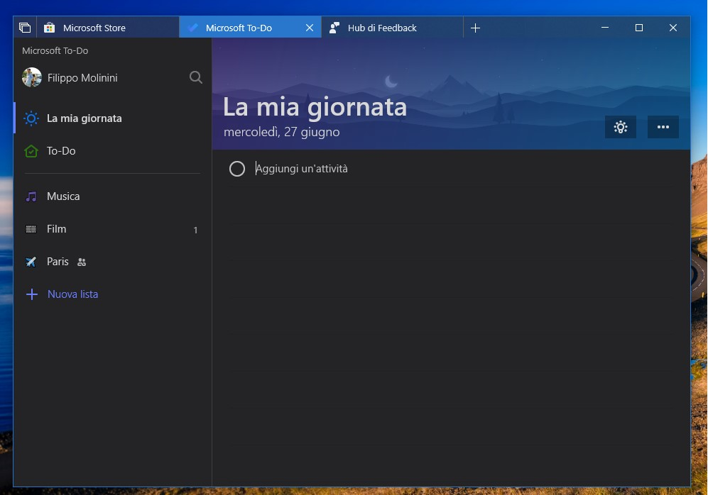 Microsoft To-Do Windows 10 tema scuro
